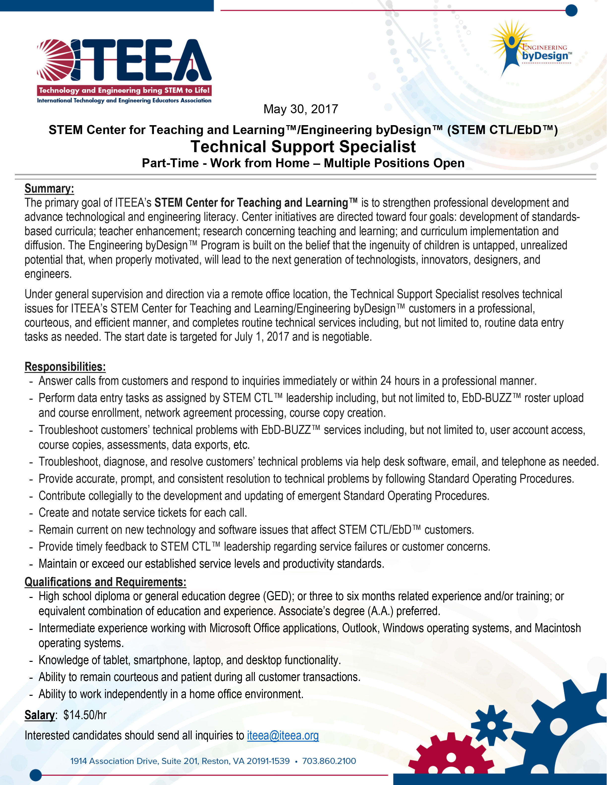 ITEEA - Job Opening: Technical Support Specialist