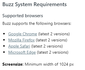 Buzz Browser Requirements