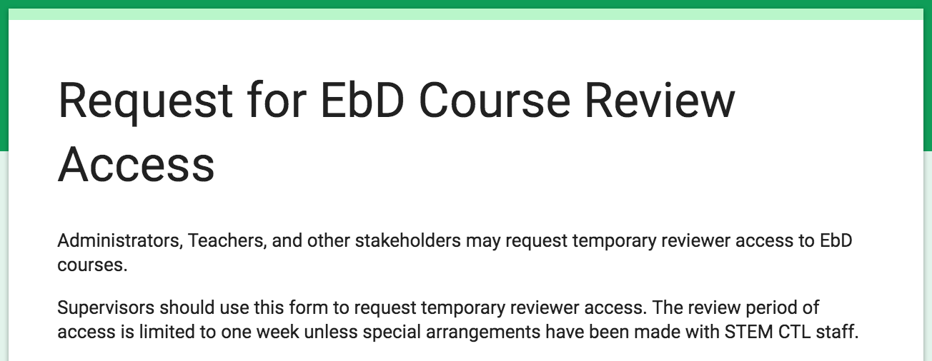 Request for EbD™ Course Review Access